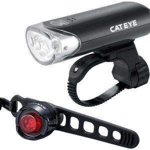 Cateye El135 And Orb Black Rear Bike Light Set